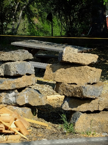 Reclaimed stone from the deconstruction of the original two homes