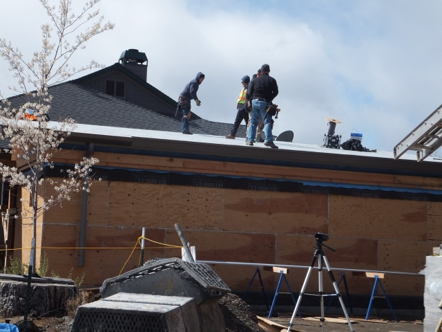 The roofing team at work