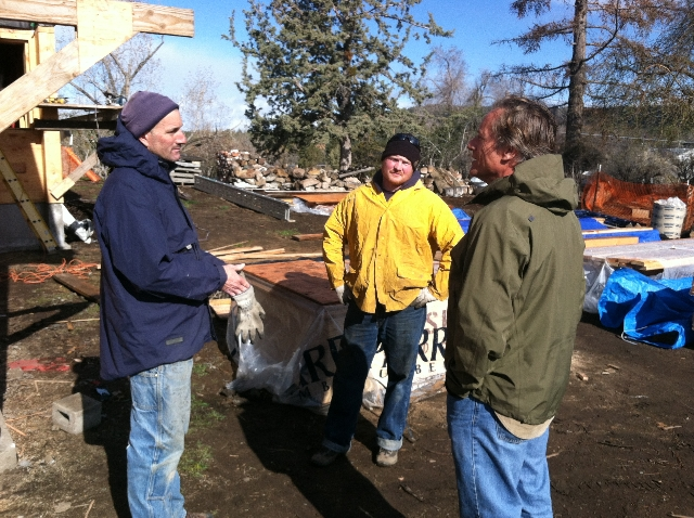 Jim Fagan, Project Manager with Timberline Construction and the roofing crew