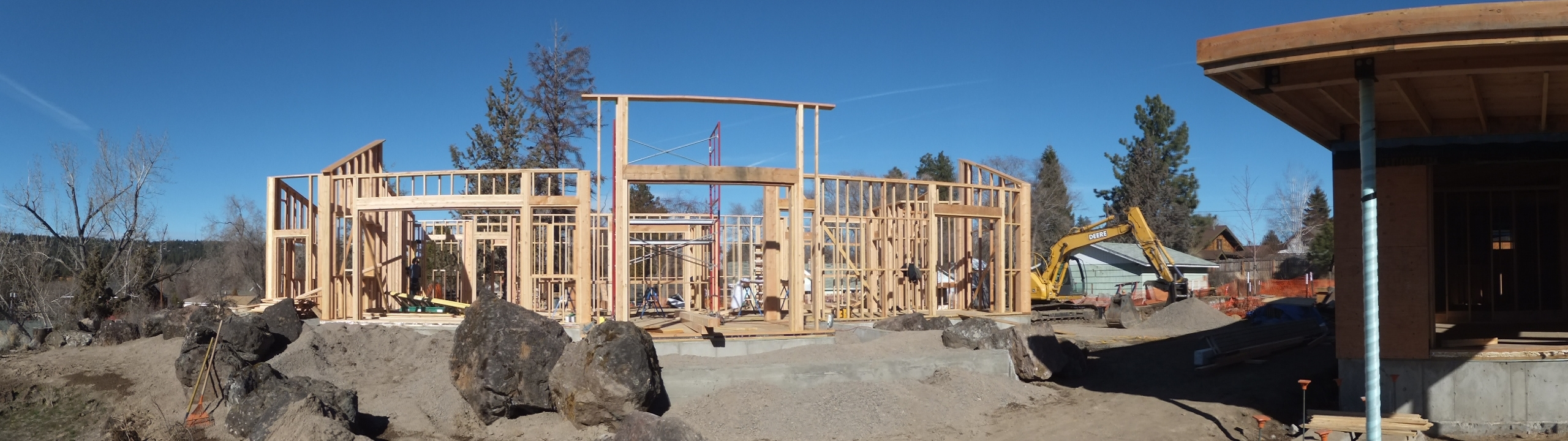 Framed the exterior walls