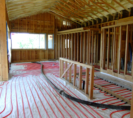 Radiant Heat tubing in place.