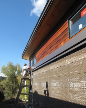 Staining the cedar siding