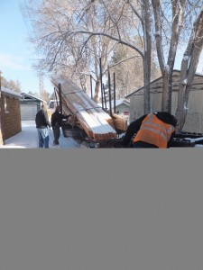 Trusses delivered on snowy morning