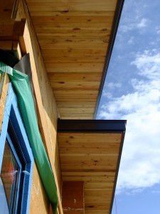 Reclaimed lumber is used on exterior soffits and all the interior ceilings.