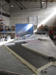 A custom countertop form laid out and ready for the first layer.