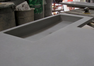 The shallow, water -saving, laundry room sink and countertop for Desert Rain.