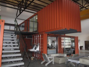 Some of the shipping container offices - part of the showroom at Cement Elegance.