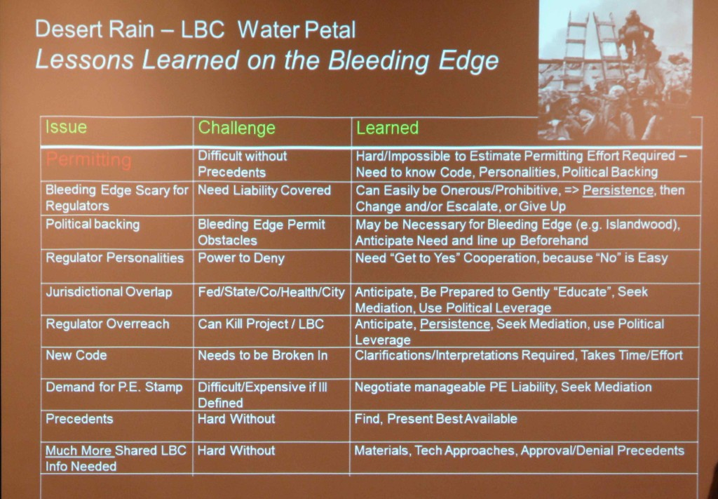 The challenges of the LBC water petal at Desert Rain.