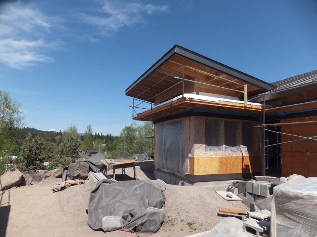 Desert Rain May 2012 - framed, sheathed, and roof in place.