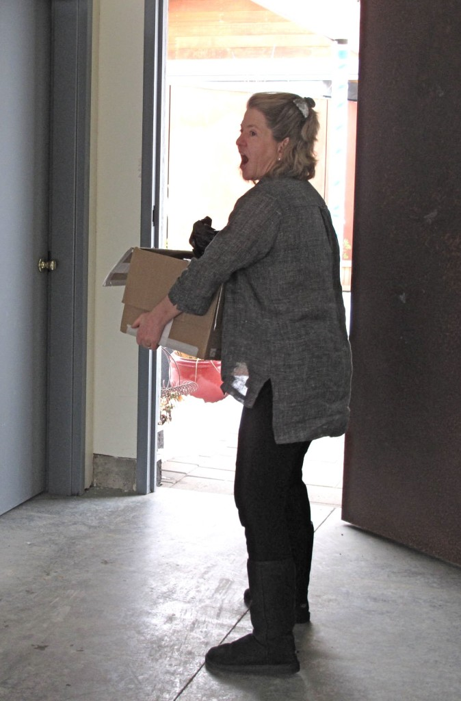 Barb stops to excitedly see a favorite item being unloaded.