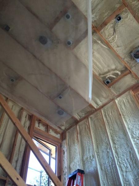 Blow in with spray foam hybrid insulation